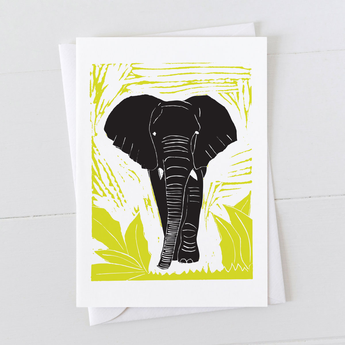 Elephant Colour Linocut Greeting Card