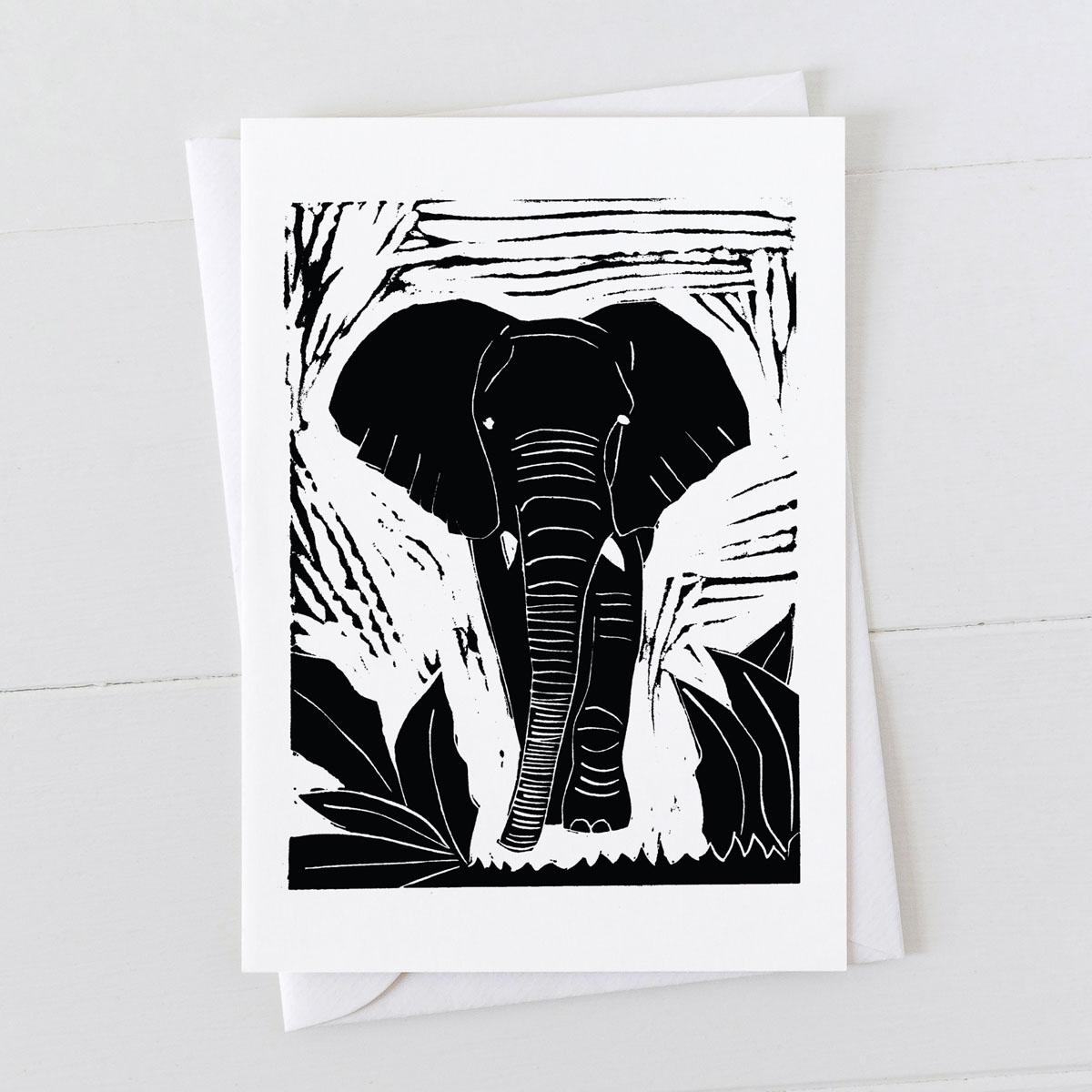 Elephant Linocut Greeting Card