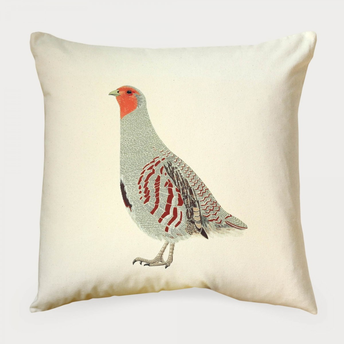 English Partridge Natural Cotton Canvas Square Cushion Cover