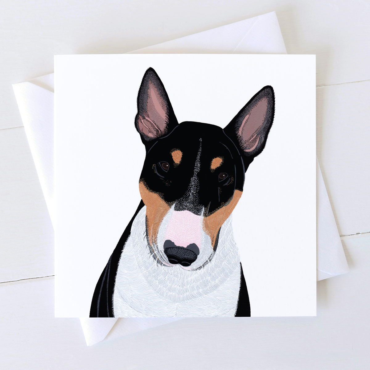 English Bull Terrier Dog Square Greeting Card