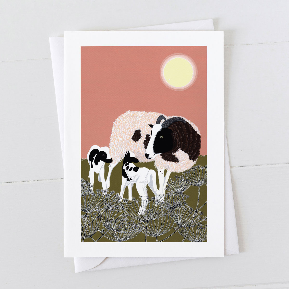Ewe Sheep With Lambs Greeting Card