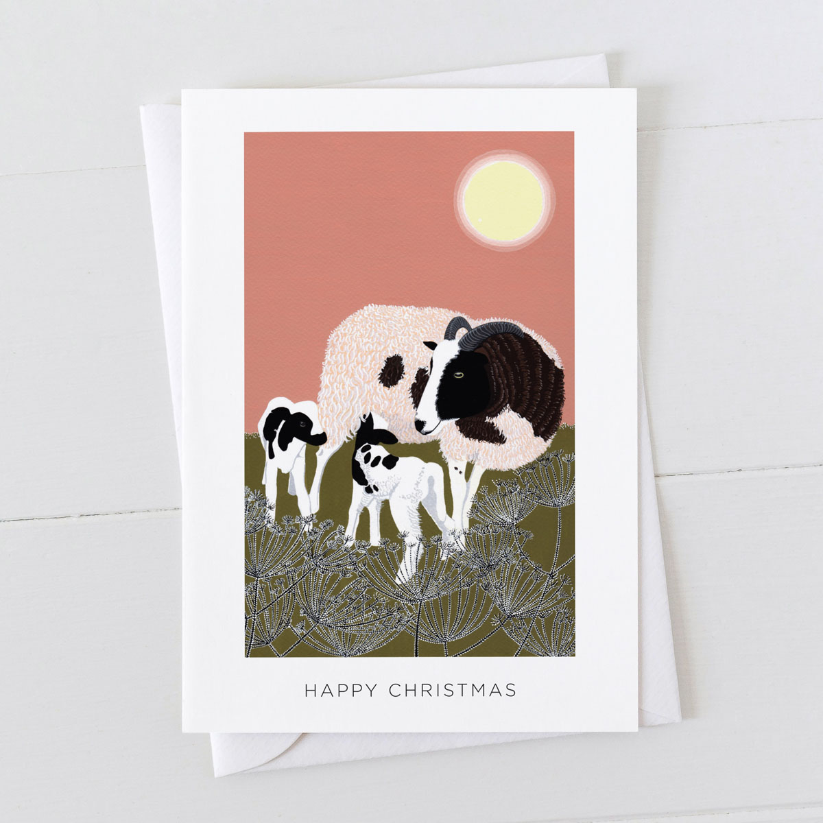 Jacob Ewe Sheep With Lambs Happy Christmas Greeting Card