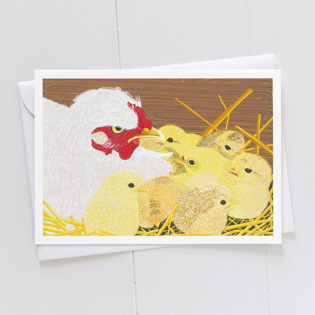 First Clutch Chicken With Chicks Greeting Card