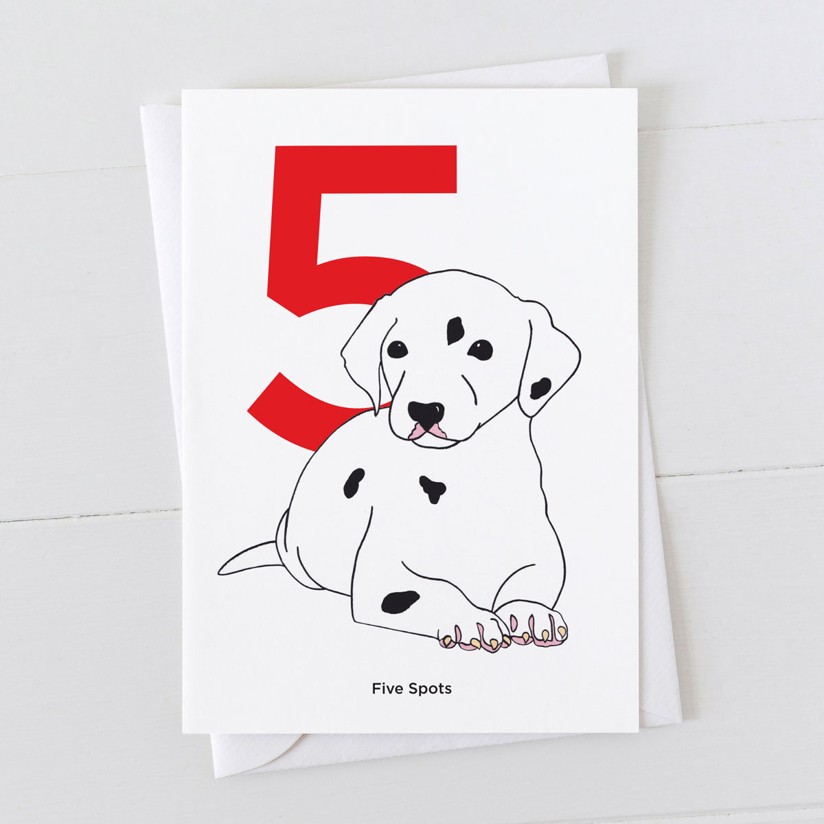 Age Five Dalmatian Spot Greeting Card