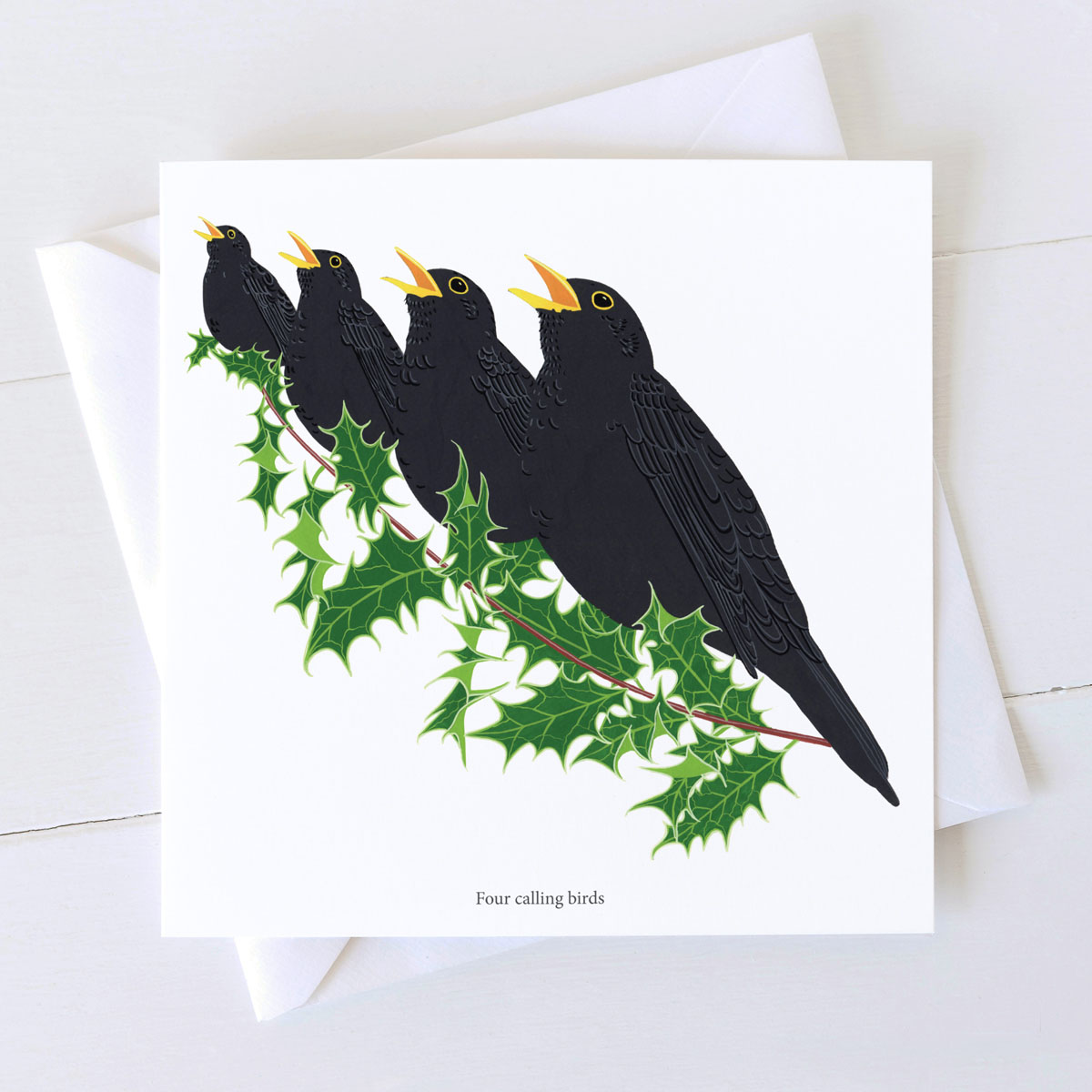 Four Calling Birds Blackbird Christmas Greeting Card