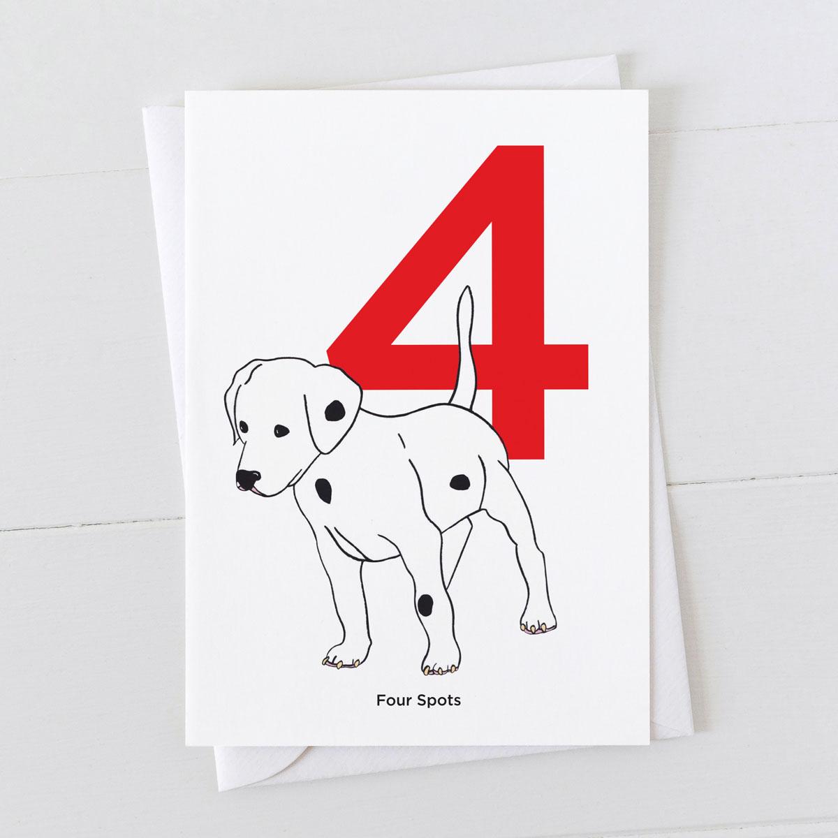 Age Four Dalmatian Spot Greeting Card