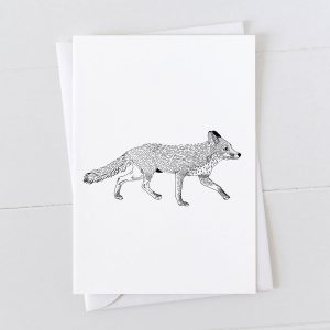 Fox Pen And Ink Drawing Greeting Card