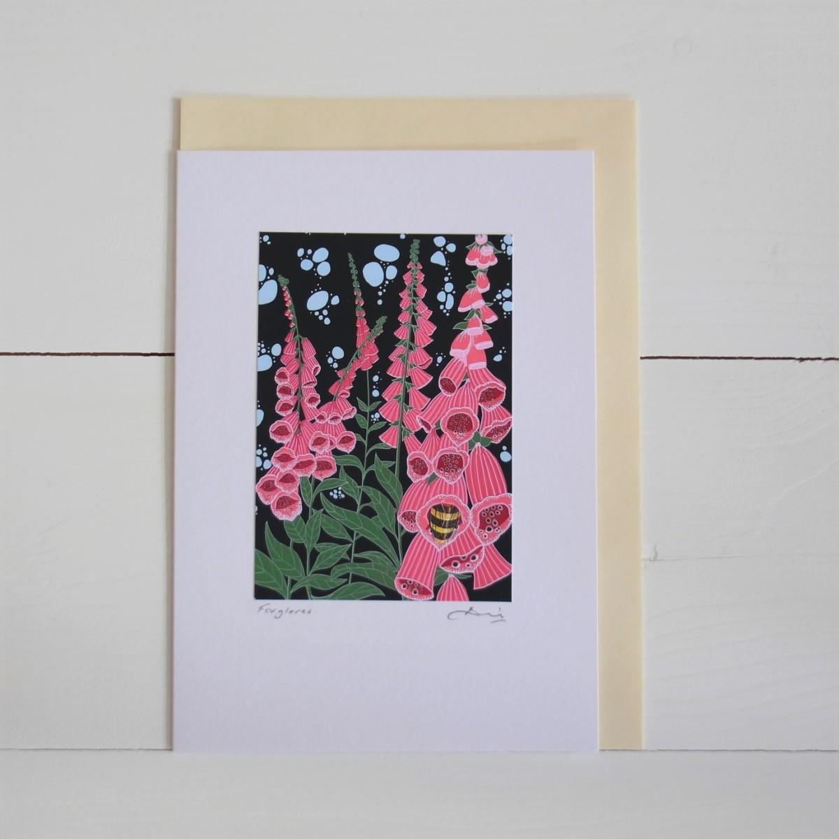 Foxgloves Handmade Hand Titled And Signed Greeting Card A5