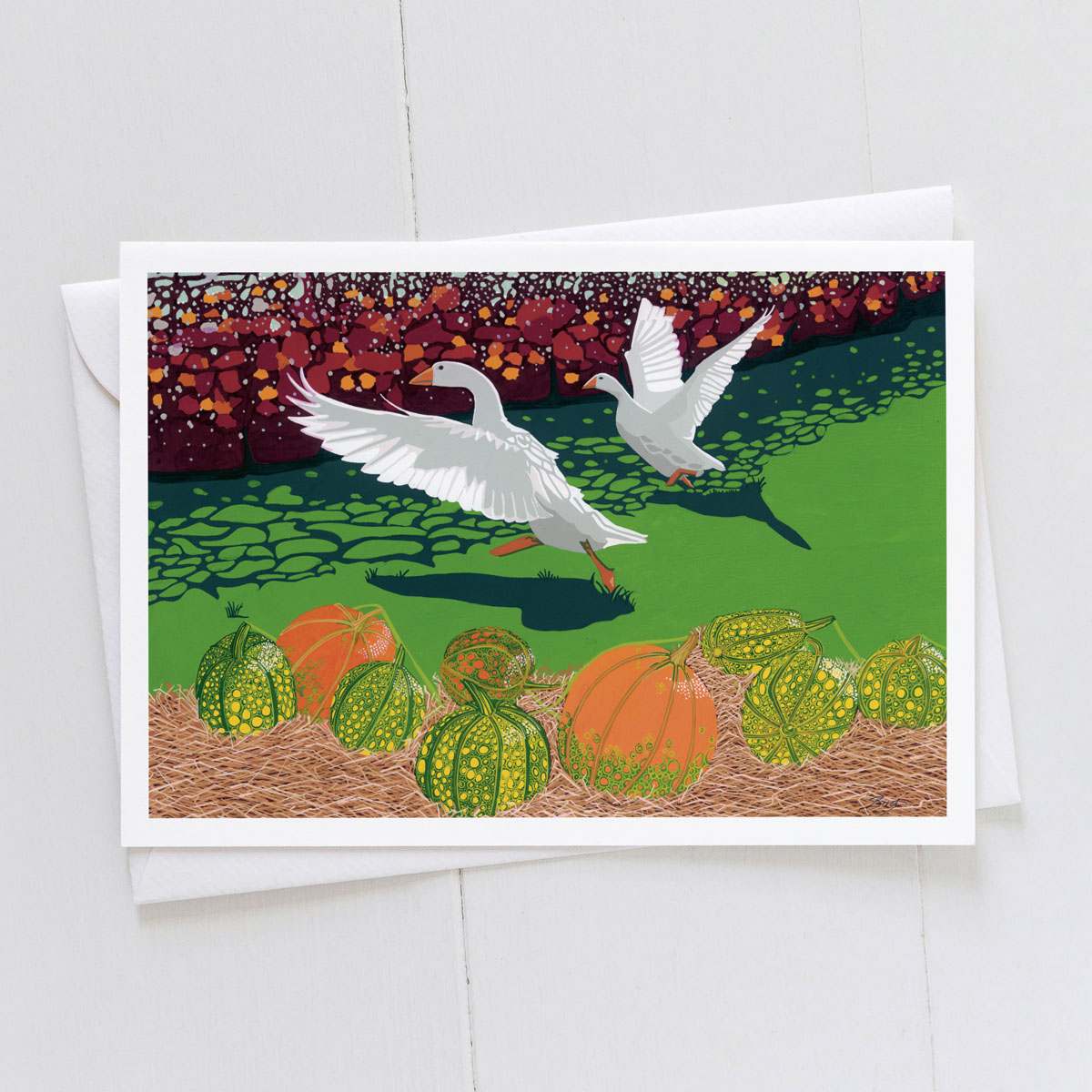 Geese With Pumpkins Greeting Card