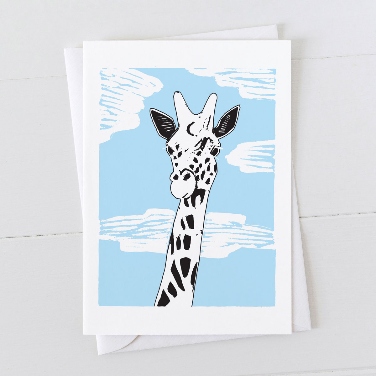 Giraffe Colour Linocut Greeting Card