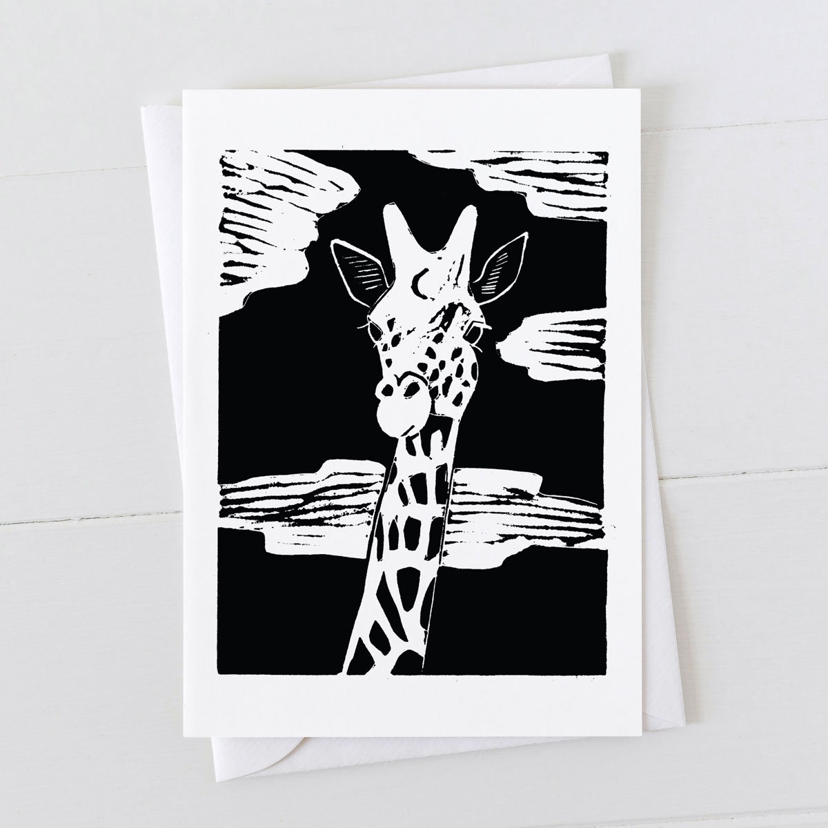 Giraffe Linocut Greeting Card
