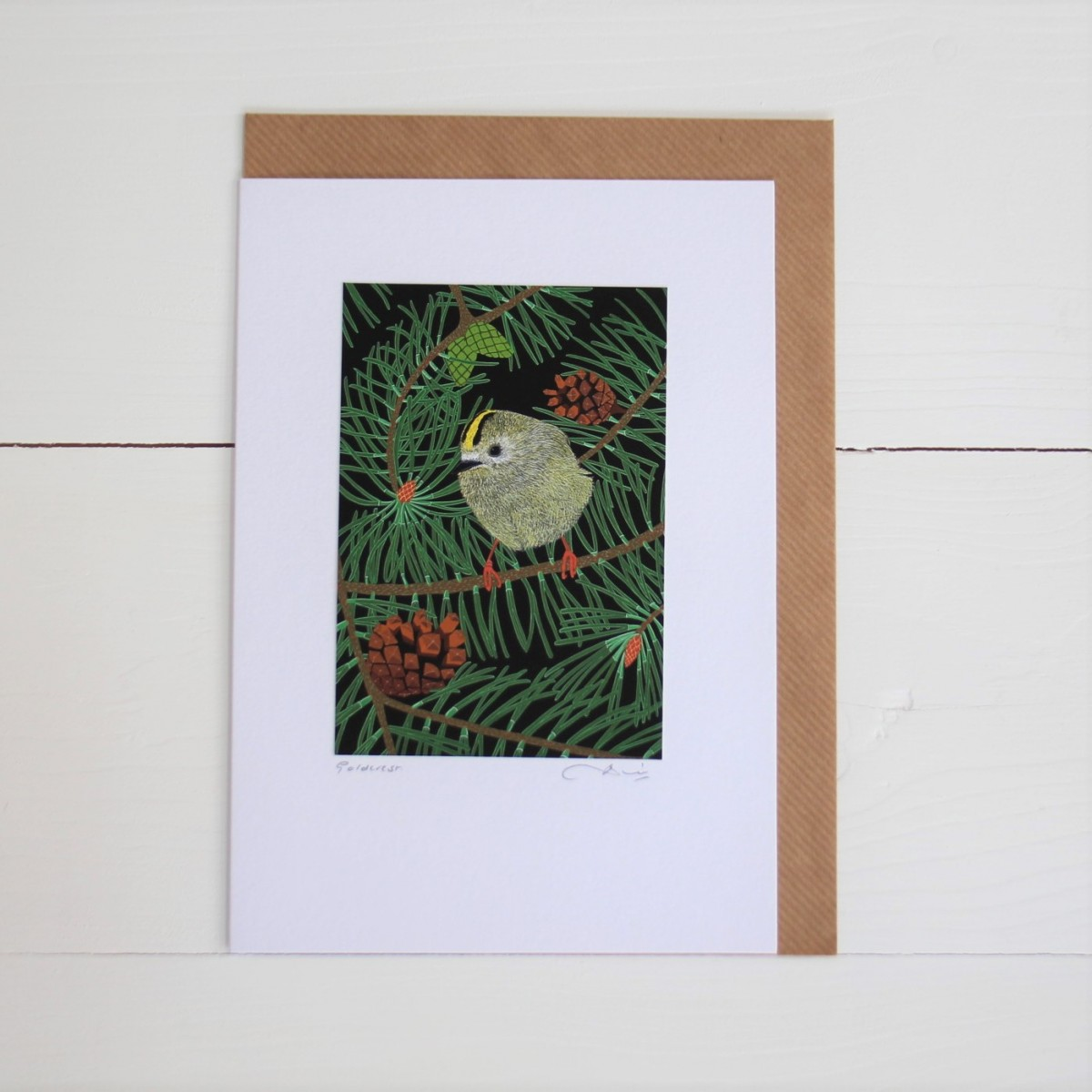 Goldcrest Bird Flower Handmade Hand Titled And Signed Greeting Card A5