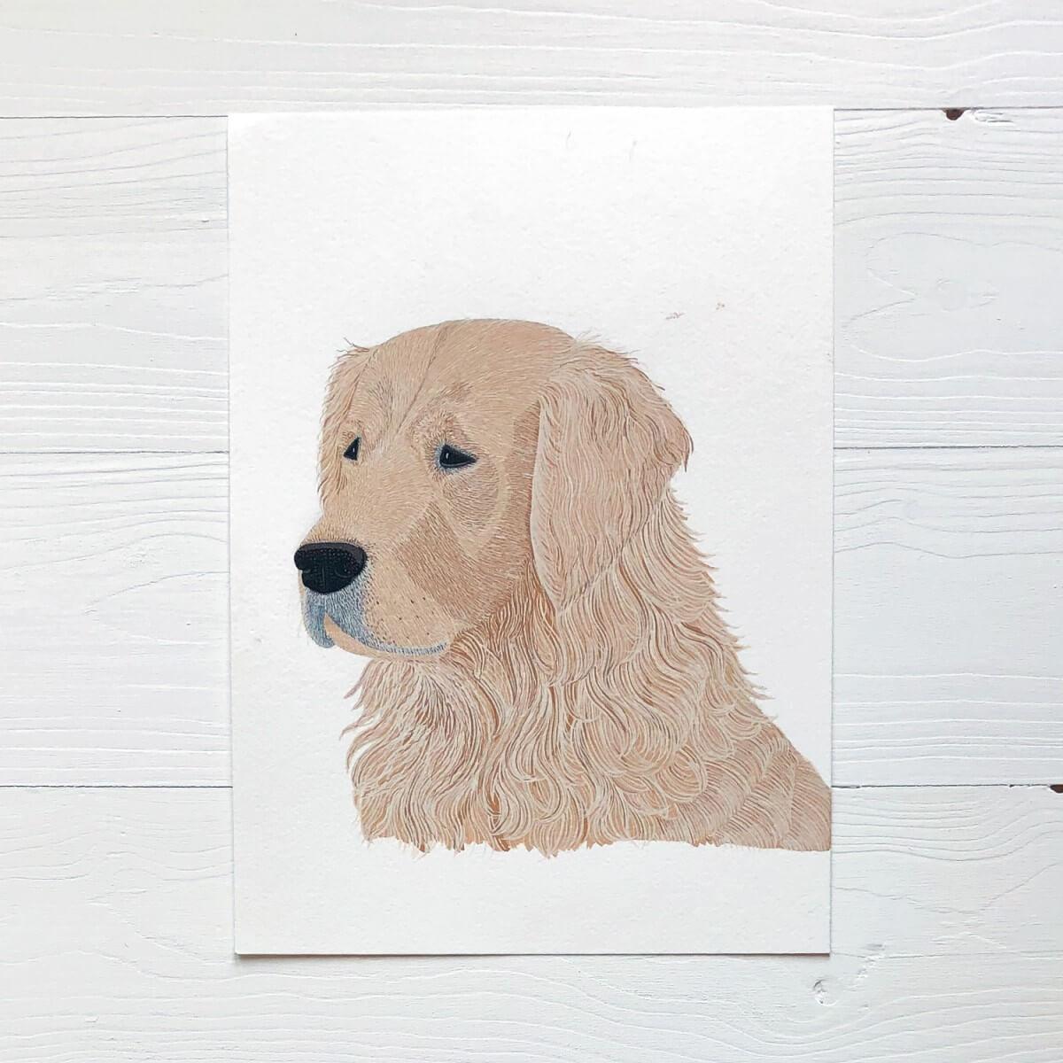 Golden Retriever Dog Original Gouache Painting By Bird