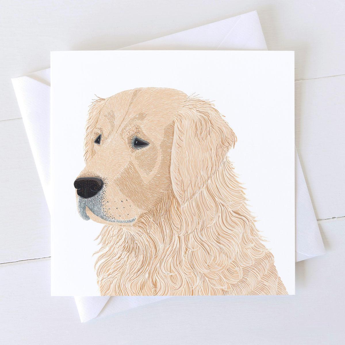 Golden Retriever Dog Square Greeting Card