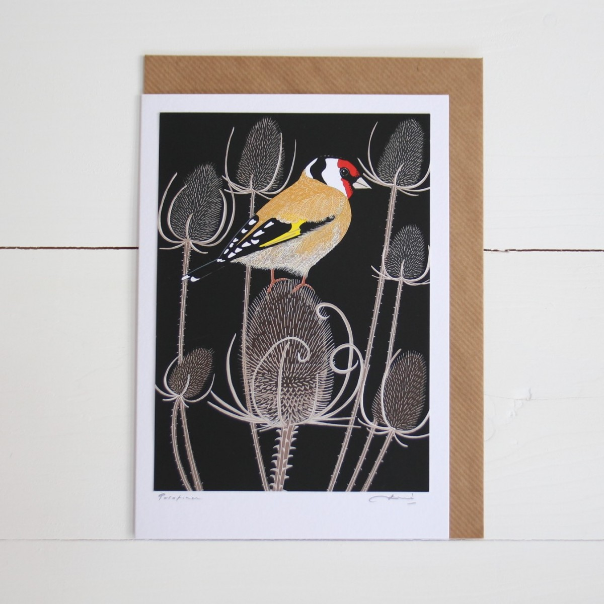 Goldfinch Bird Flower Handmade Hand Titled And Signed Greeting Card A5