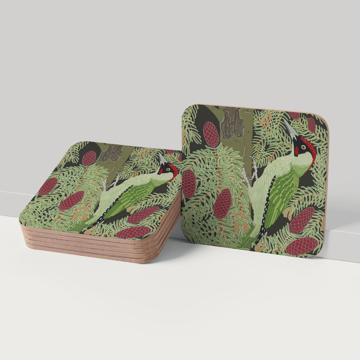Green Woodpecker Bird Placemat And Coaster Tableware
