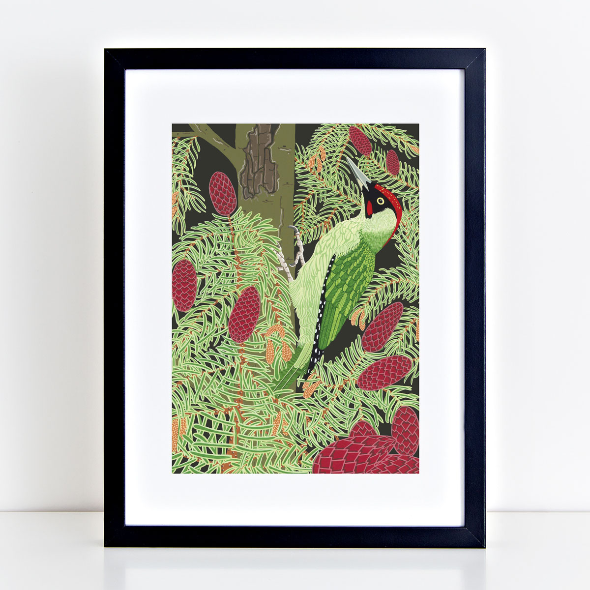 Green Woodpecker Garden Bird Mounted And Framed Print