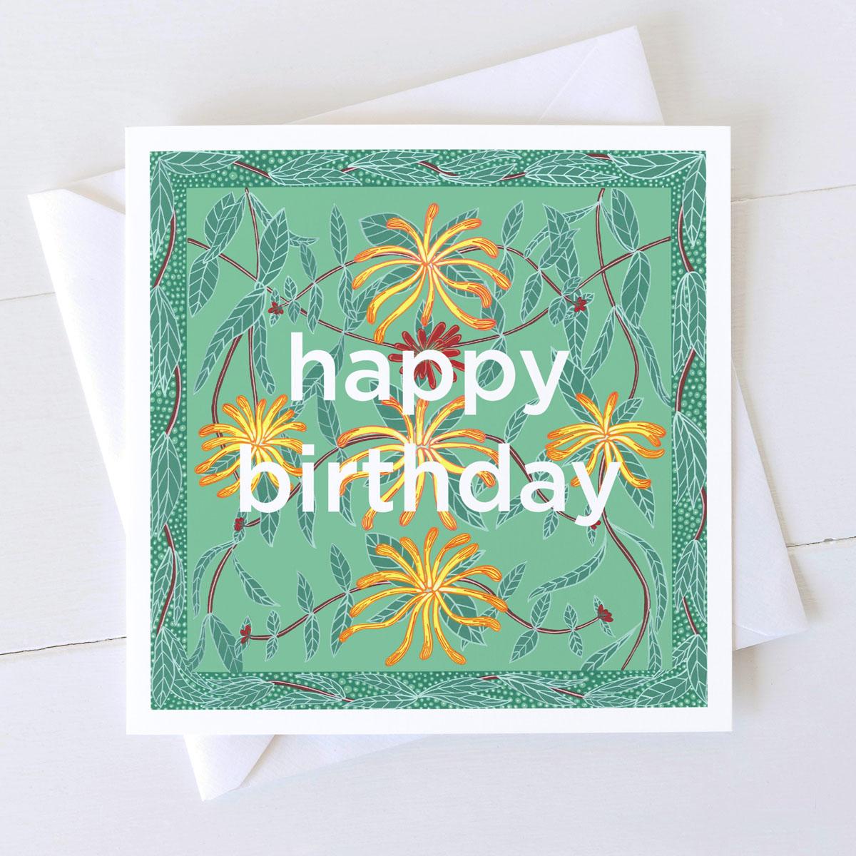 Honeysuckle Happy Birthday Wild Flower Card