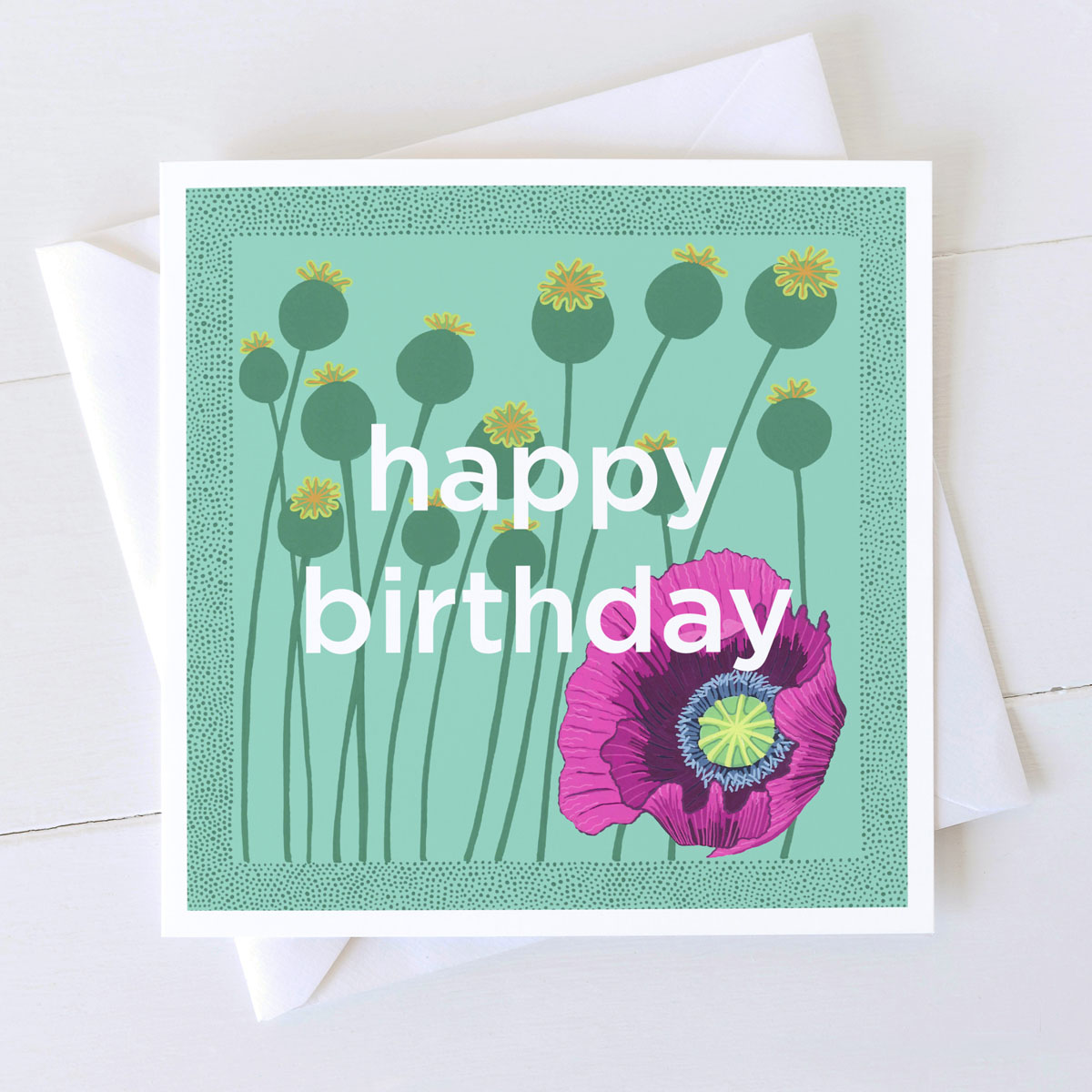 Happy Birthday Wild Poppies Greeting Card