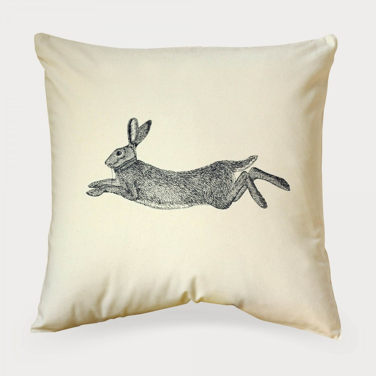 Hare Natural Cotton Canvas Square Cushion Cover