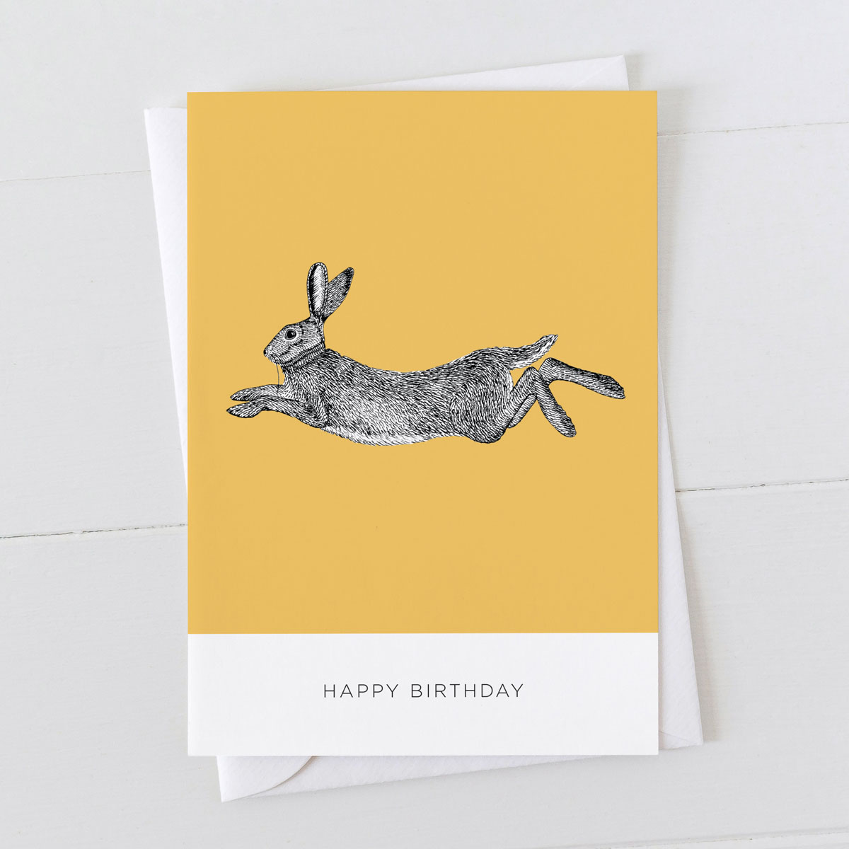 Hare Happy Birthday Illustration Greeting Card