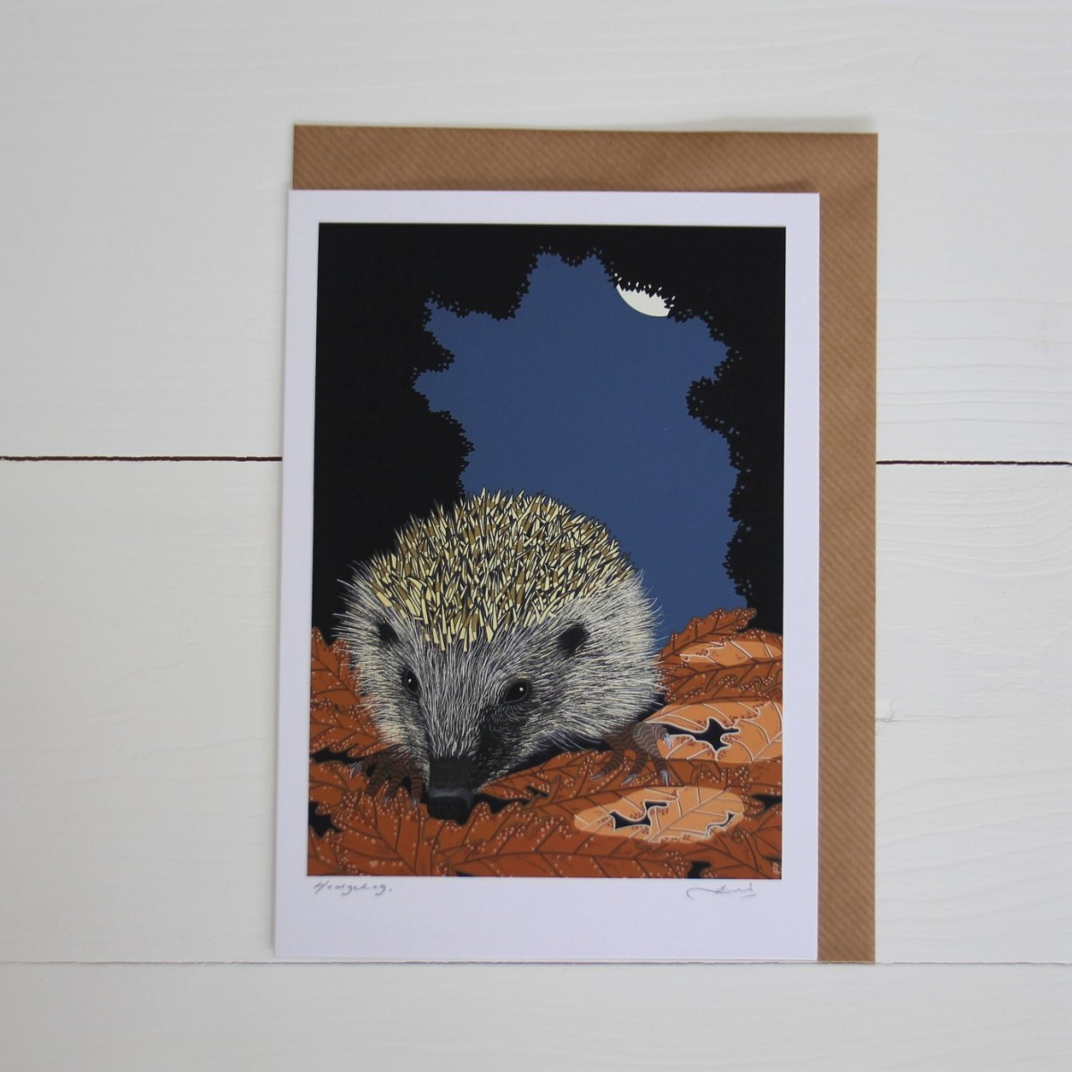Hedgehog Handmade Hand Titled And Signed Greeting Card A5