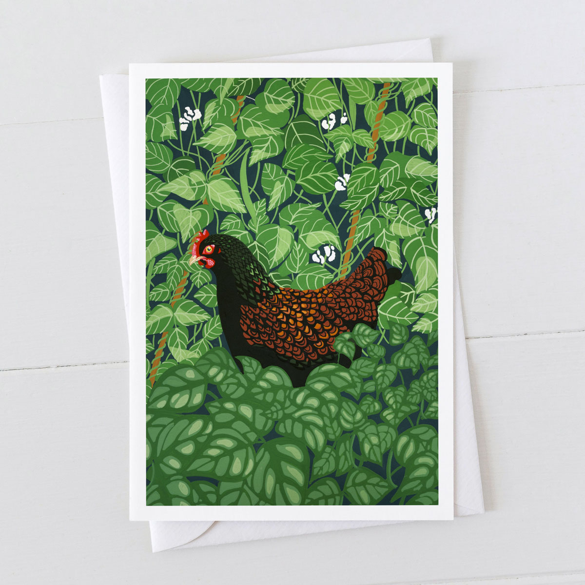 Hen in The Beans Chicken Greeting Card