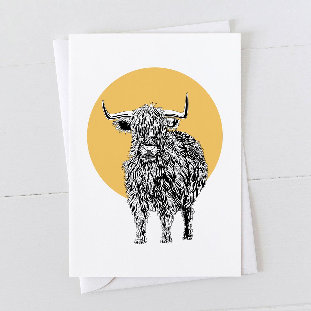 Highland Cow Happy Birthday Card