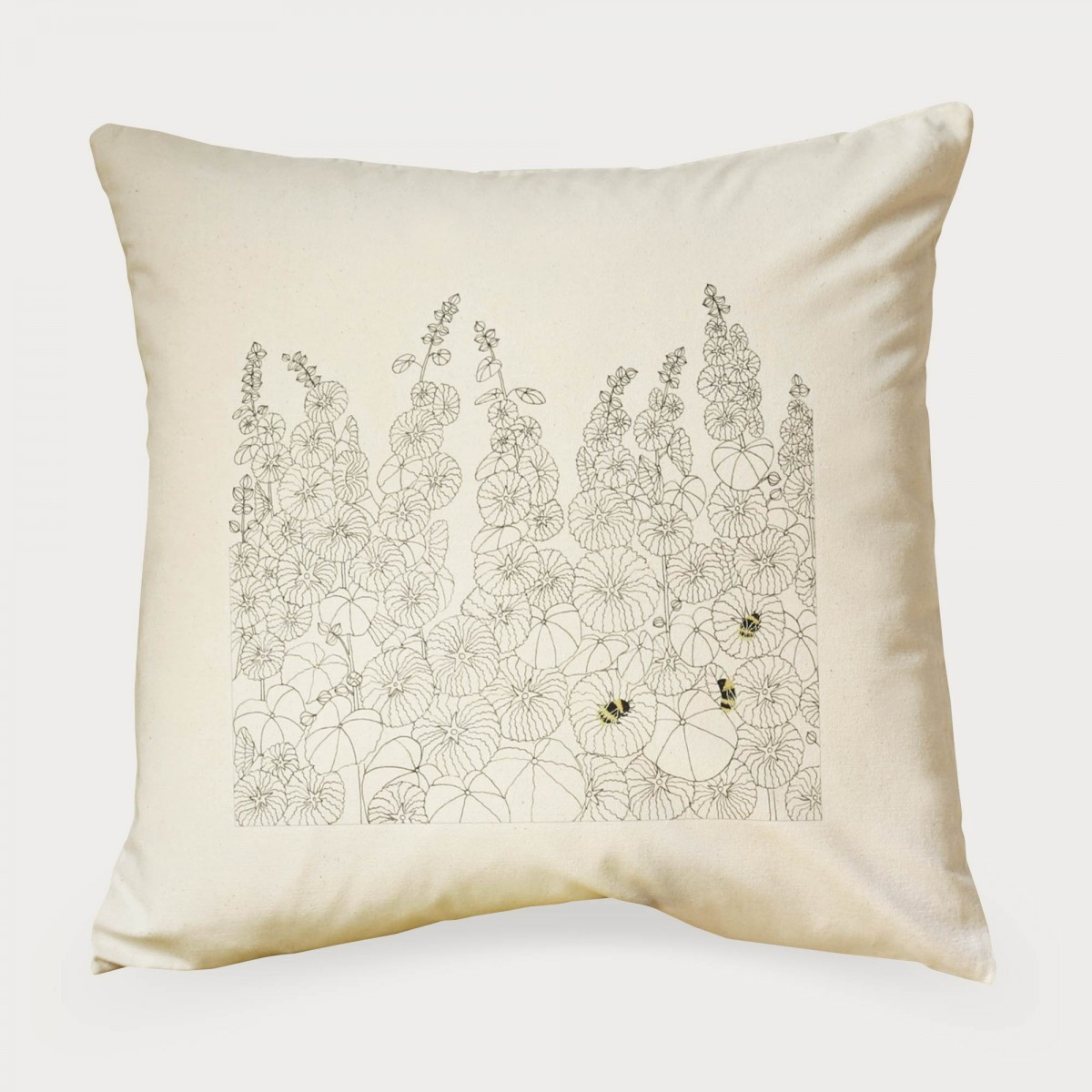 Hollyhocks And Bees Bee Bea Flower Floral Cushion Cover