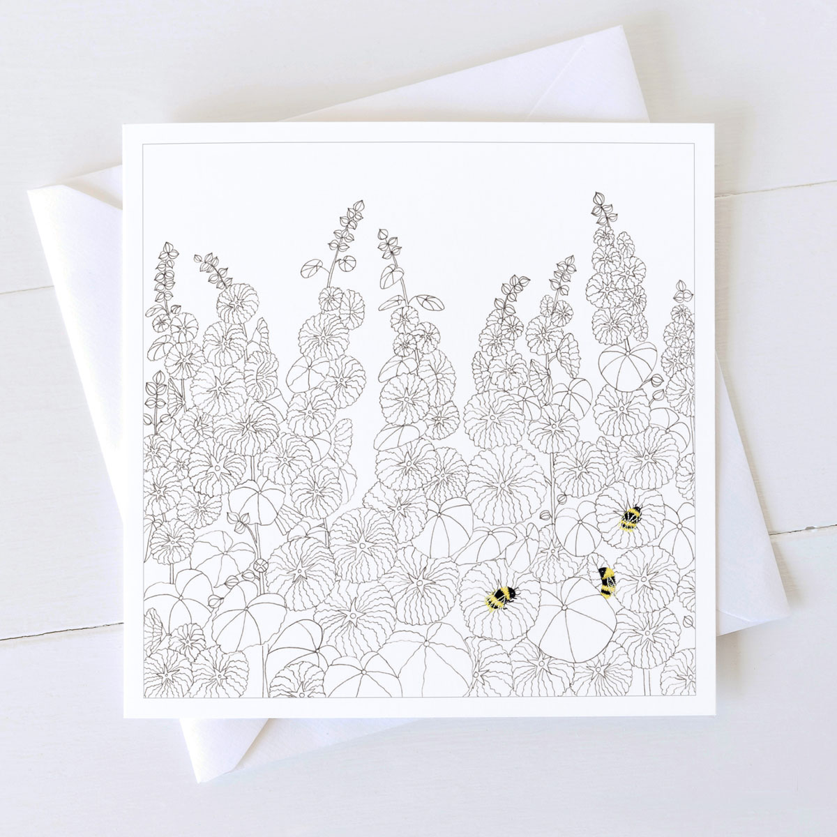 Hollyhocks Flower And Bumble Bees Greeting Cards