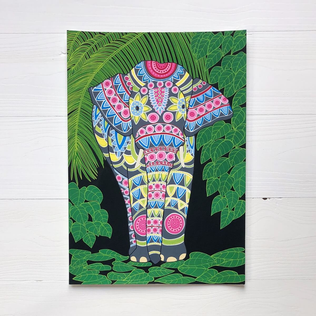 Indian Elephant 2 Original Gouache Painting By Bird