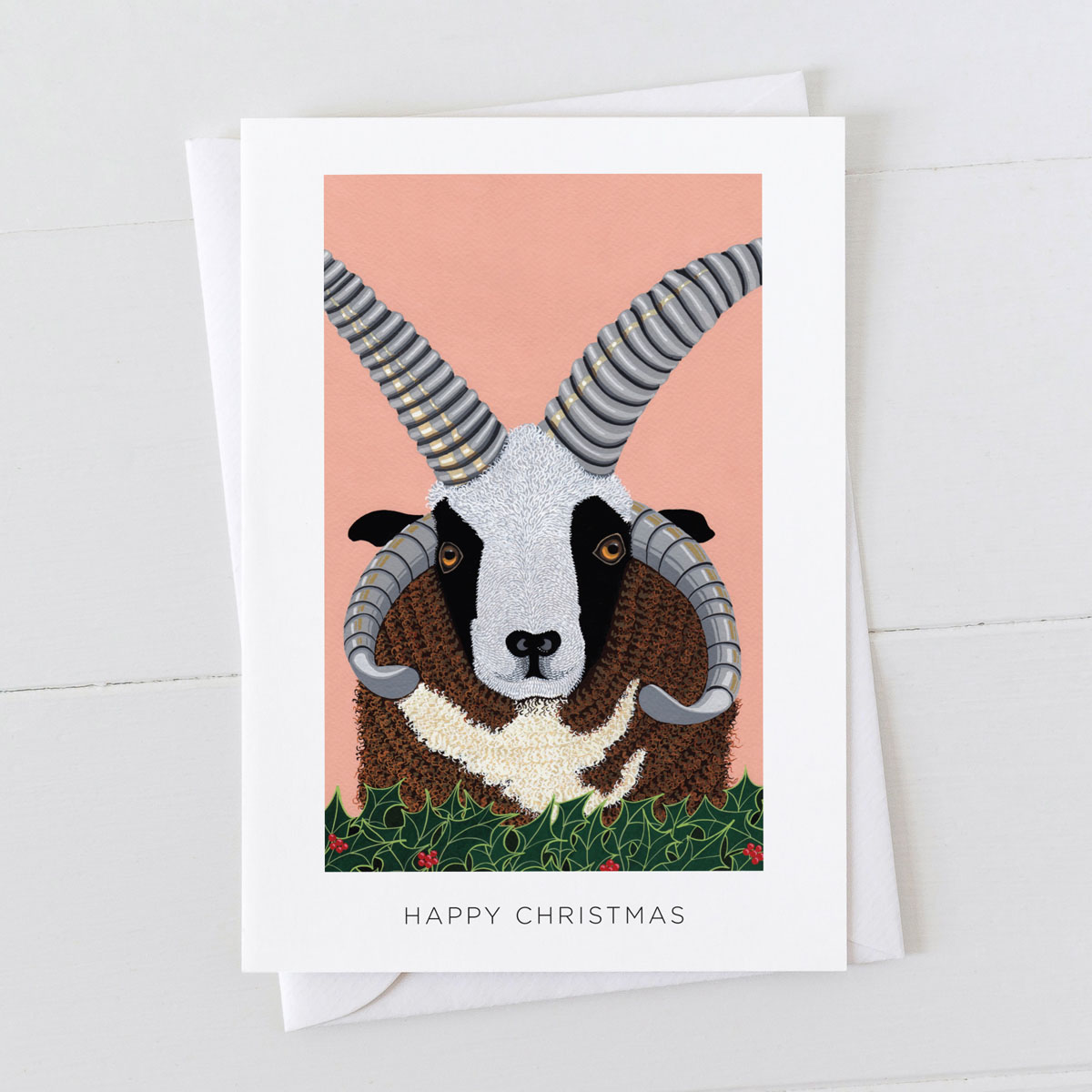 Jacob Ram Sheep Happy Christmas Greeting Card