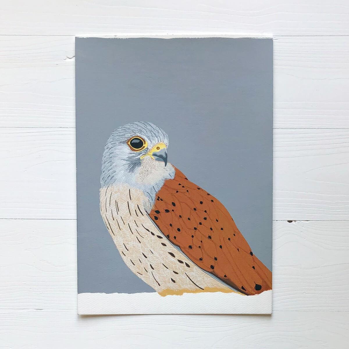 Kestrel Bird Of Prey Original Gouache Painting By Bird