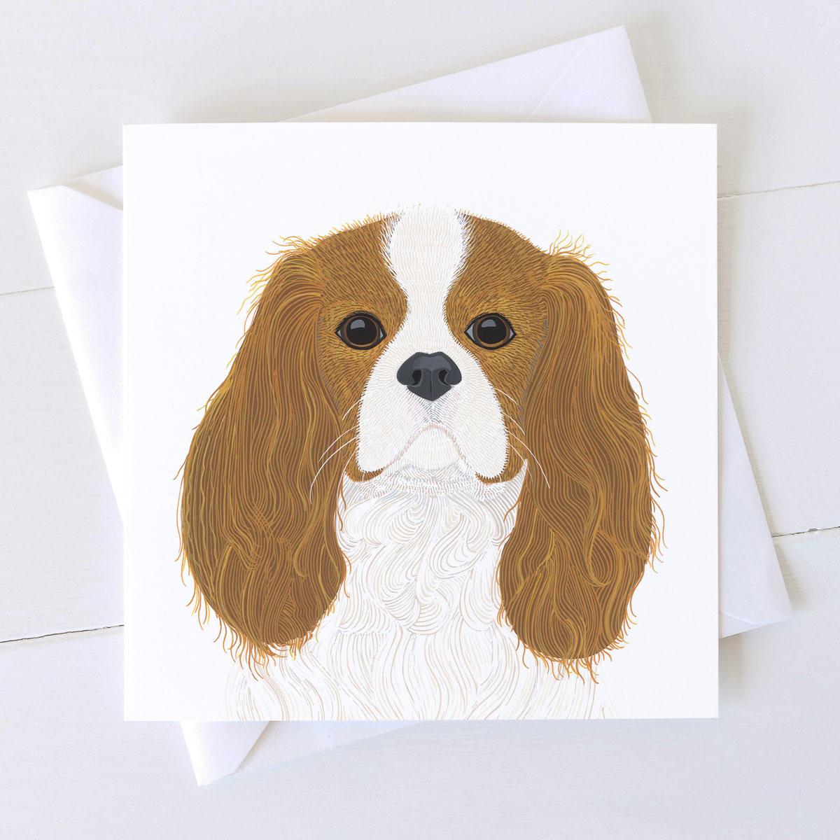 Cavalier King Charles Spaniel Dog Square Greeting Card