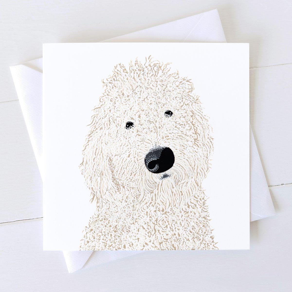 Labradoodle Dog Square Greeting Card