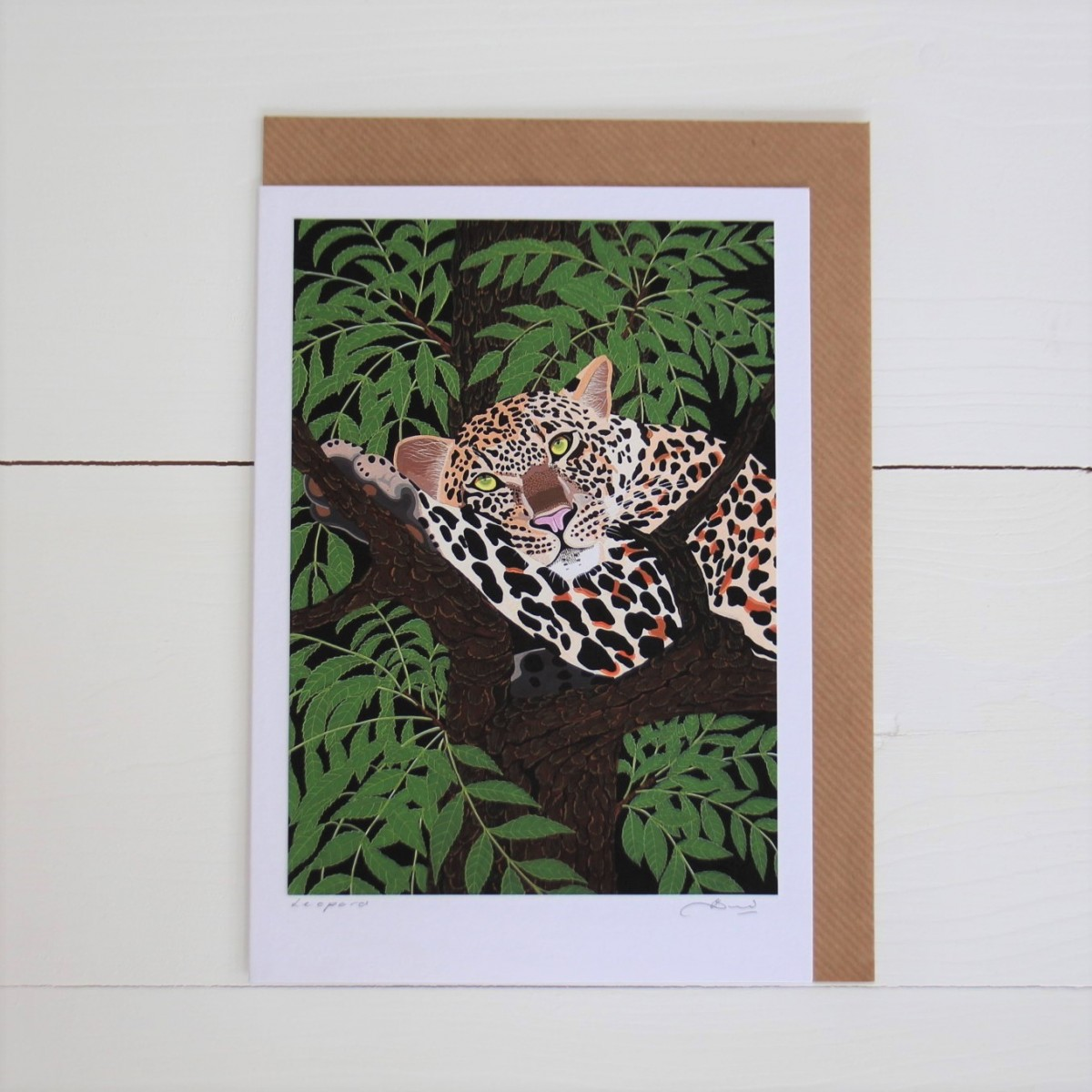 Leopard Handmade Hand Titled And Signed Greeting Card A5
