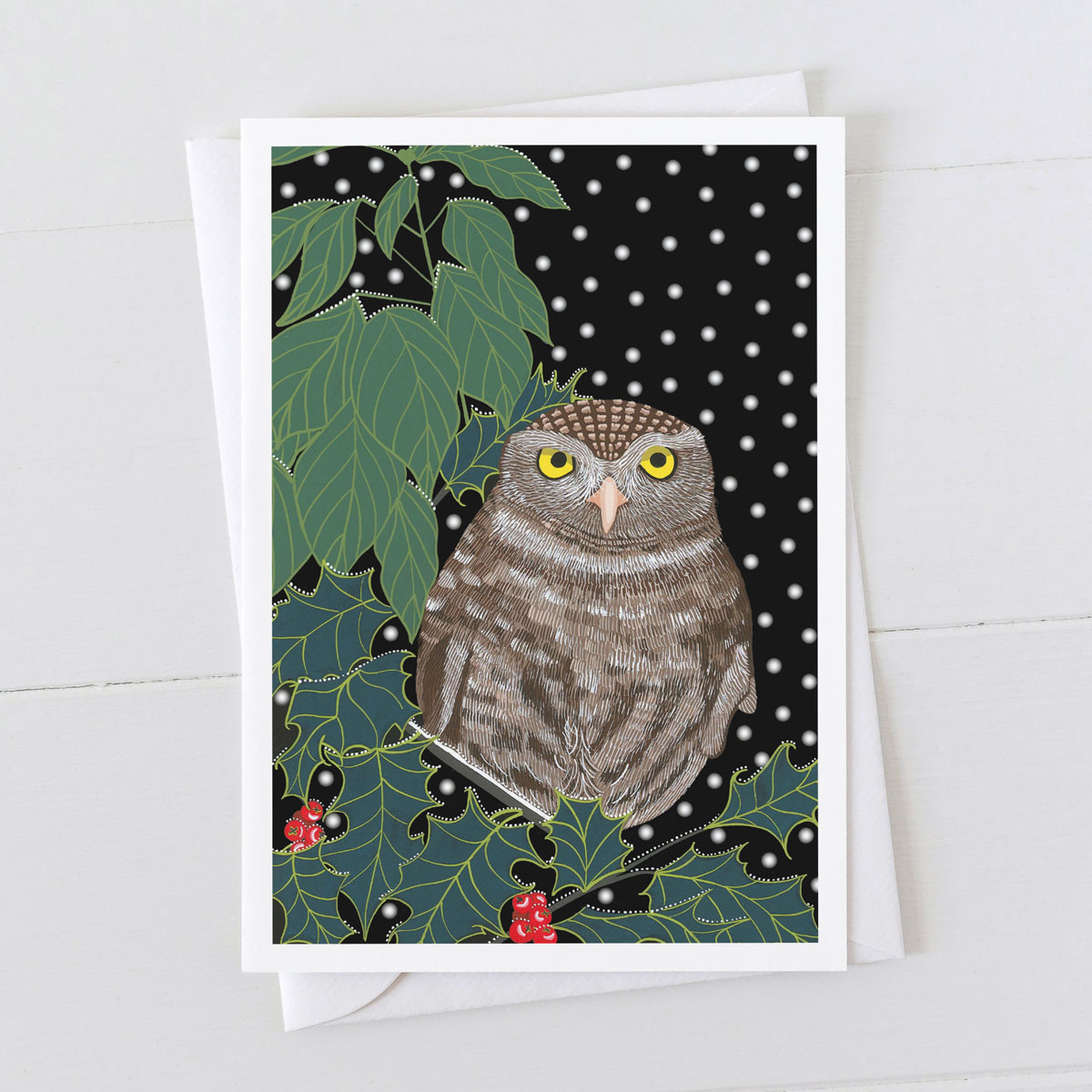 Little Owl Bird in Snow Christmas Greeting Card