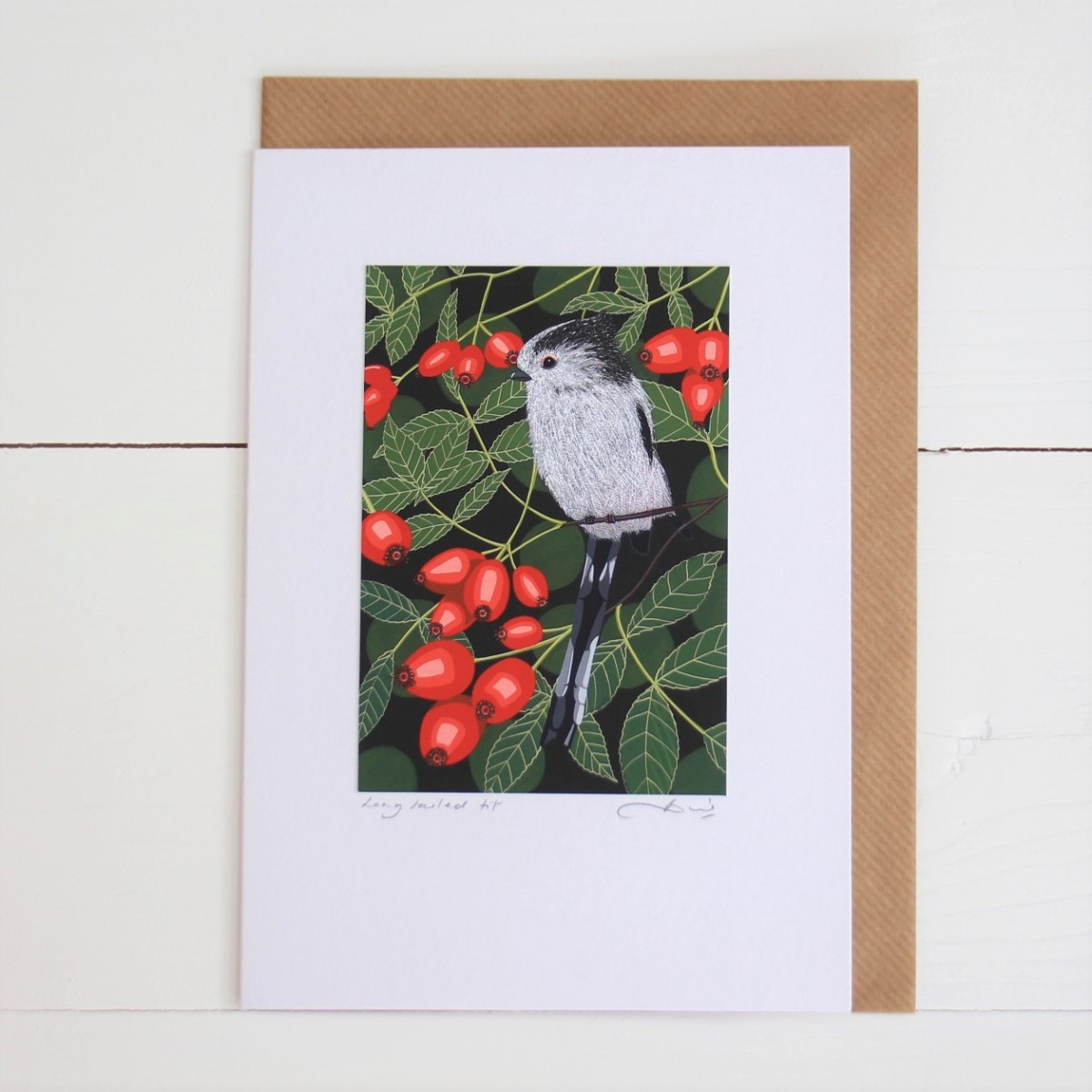 Long Tailed Tit Bird Flower Handmade Hand Titled And Signed Greeting Card A5