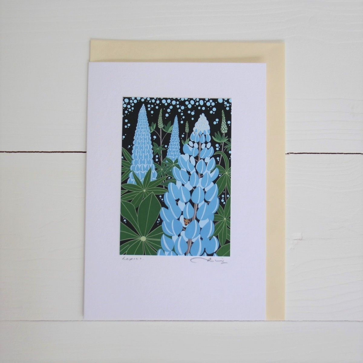 Lupins Handmade Hand Titled And Signed Greeting Card A5