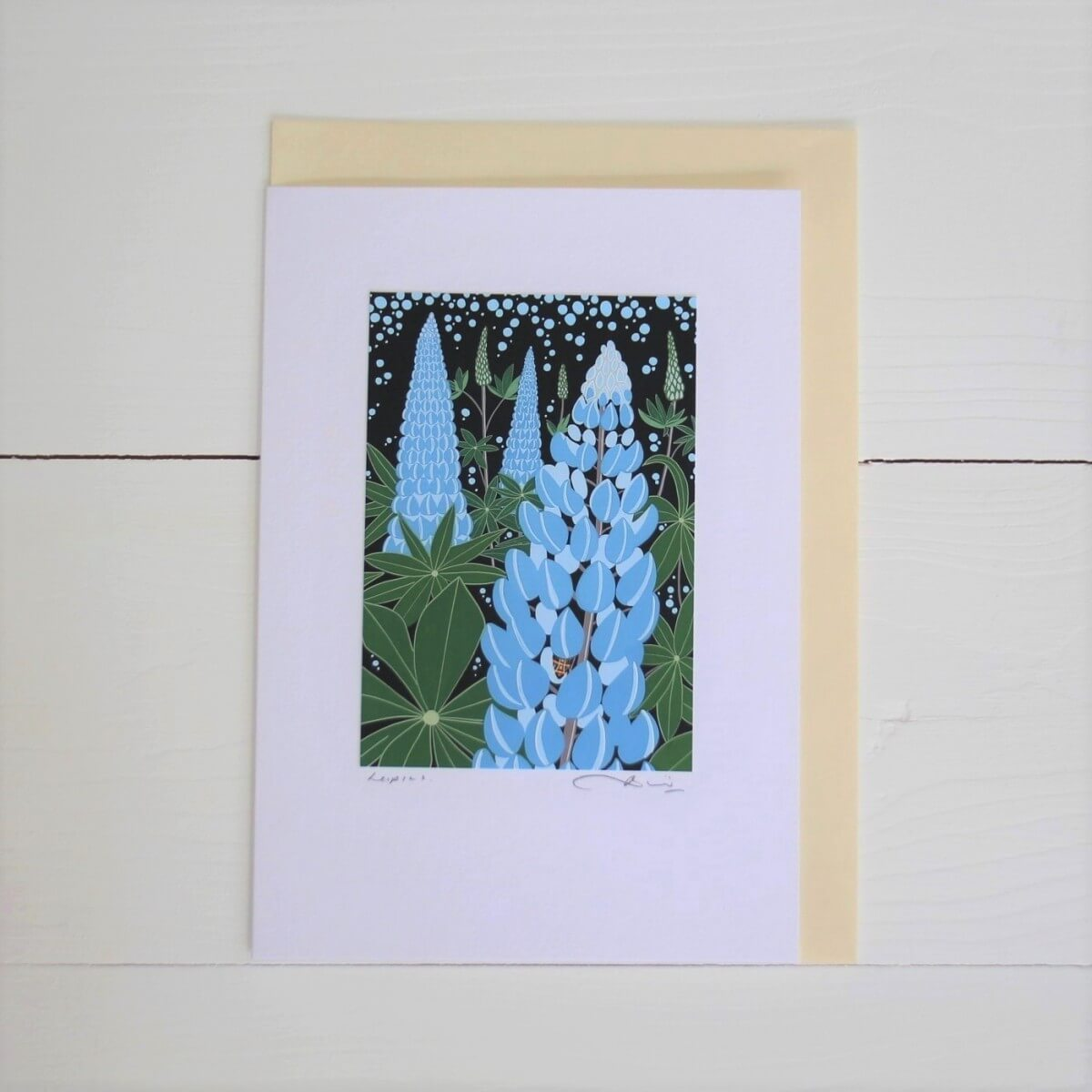 Lupins Handmade Art Card By Bird