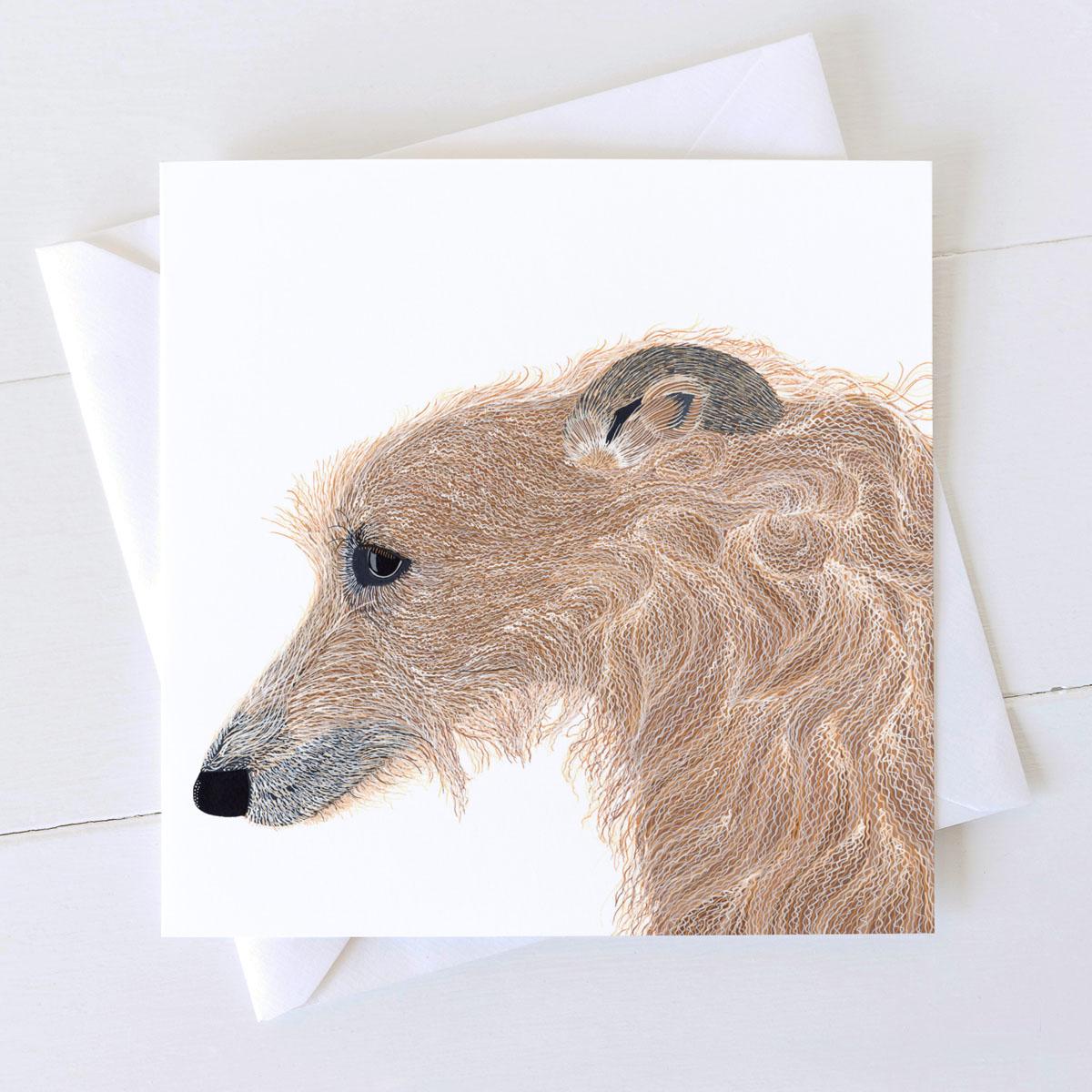 Lurcher Dog Square Greeting Card
