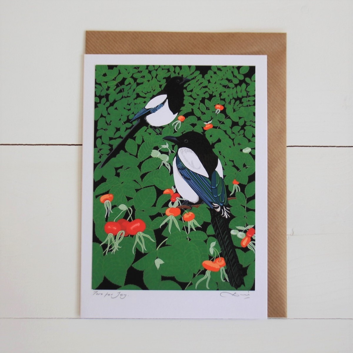 Magpies Bird Flower Handmade Hand Titled And Signed Greeting Card A5