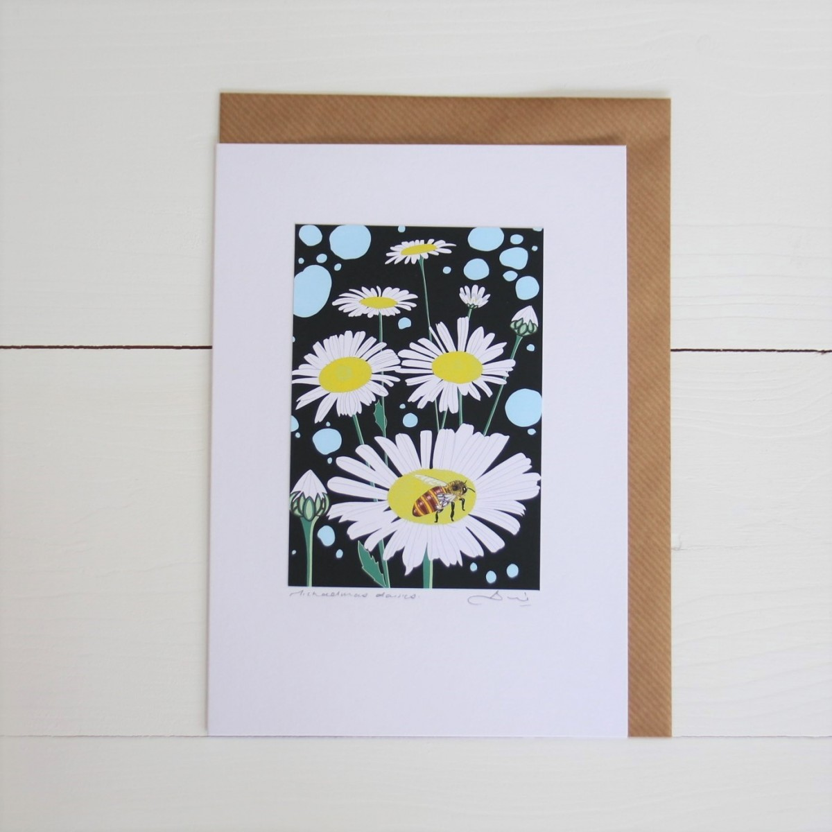 Michaelmas Daisies Handmade Flowers Hand Titled And Signed Greeting Card A5
