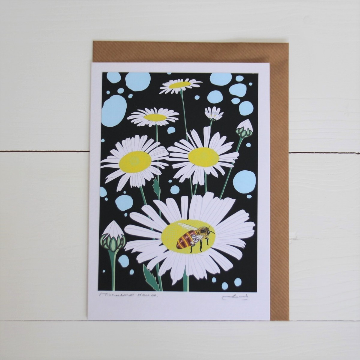 Michaelmas Daisies Handmade Hand Titled And Signed Greeting Card A5