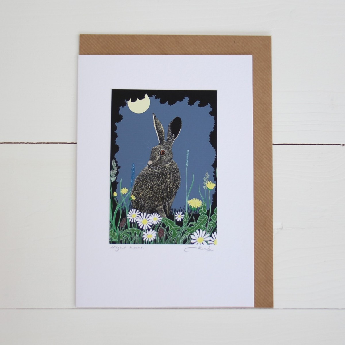 Night Hare Handmade Hand Titled And Signed Greeting Card A5