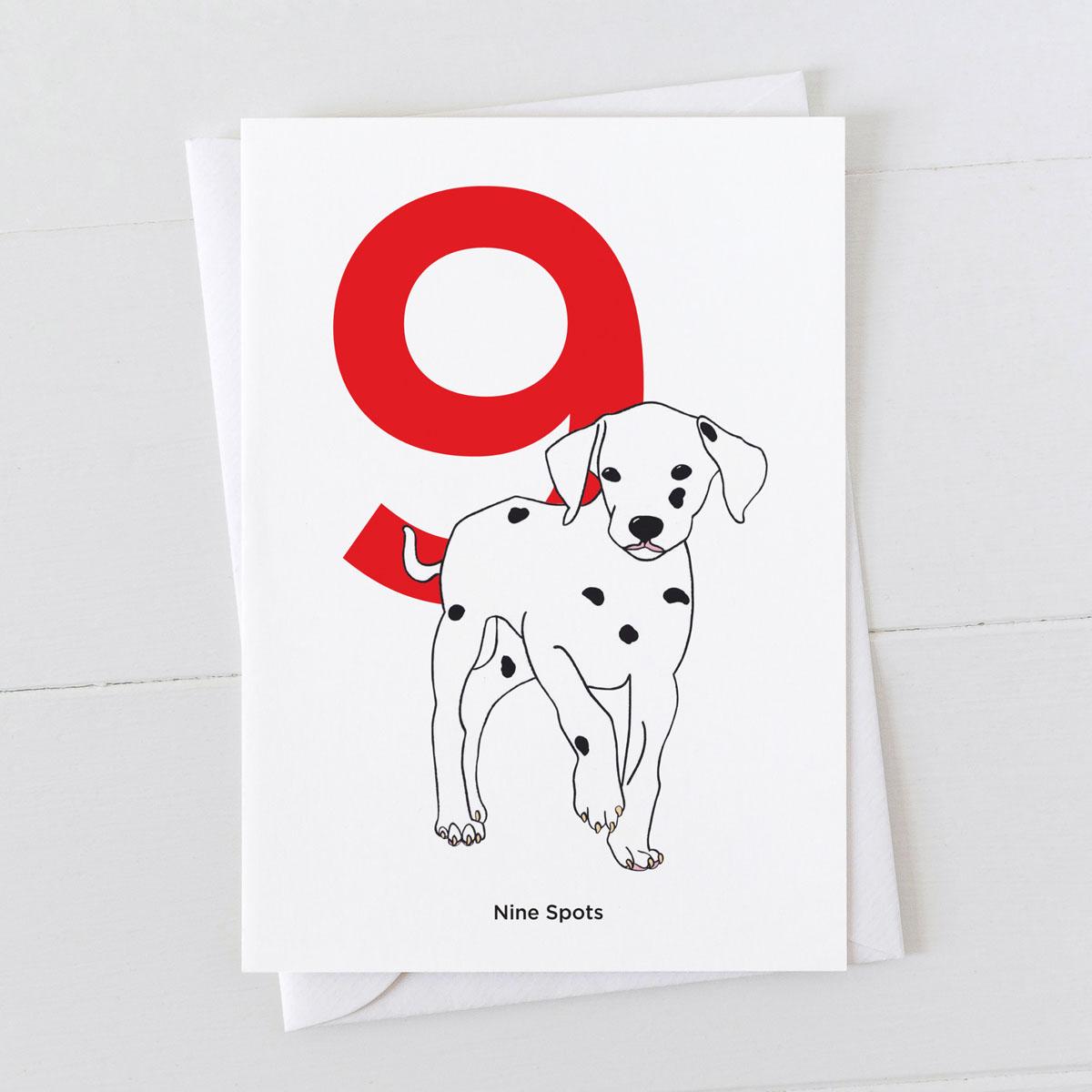 Age Nine Dalmatian Spot Greeting Card