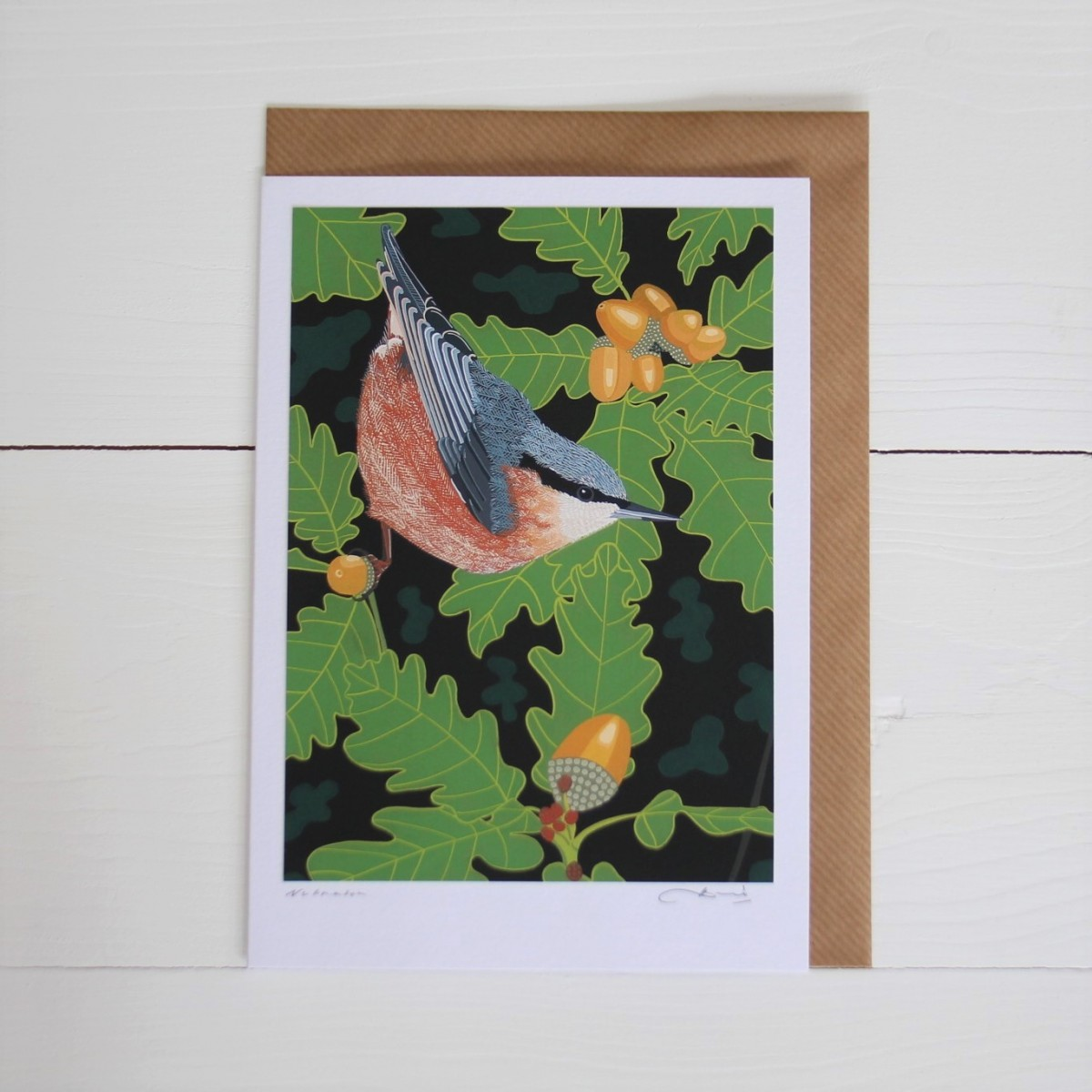 Nuthatch Bird Flower Handmade Hand Titled And Signed Greeting Card A5