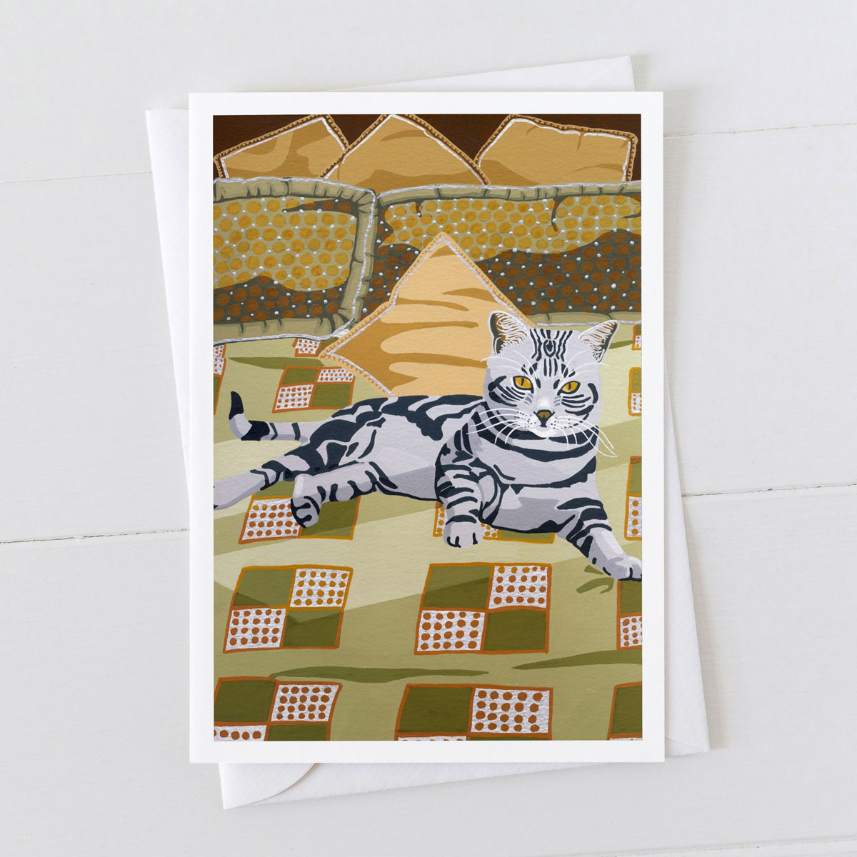 On the bed Cat Greeting card