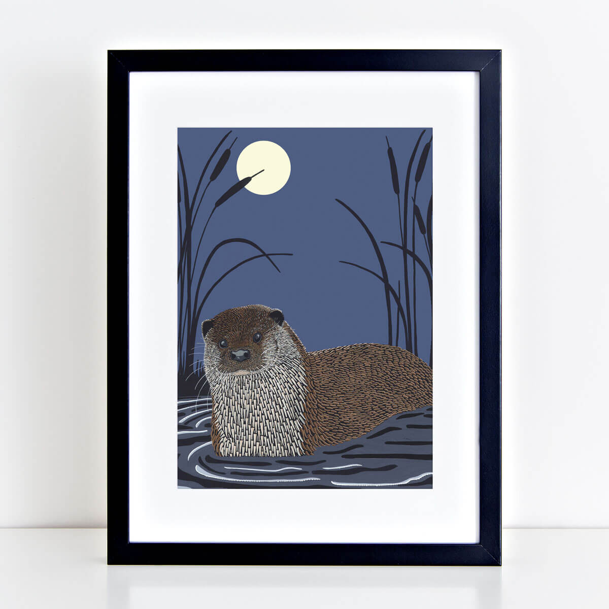 Otter Art Print Nocturnal Mounted And Framed By Bird