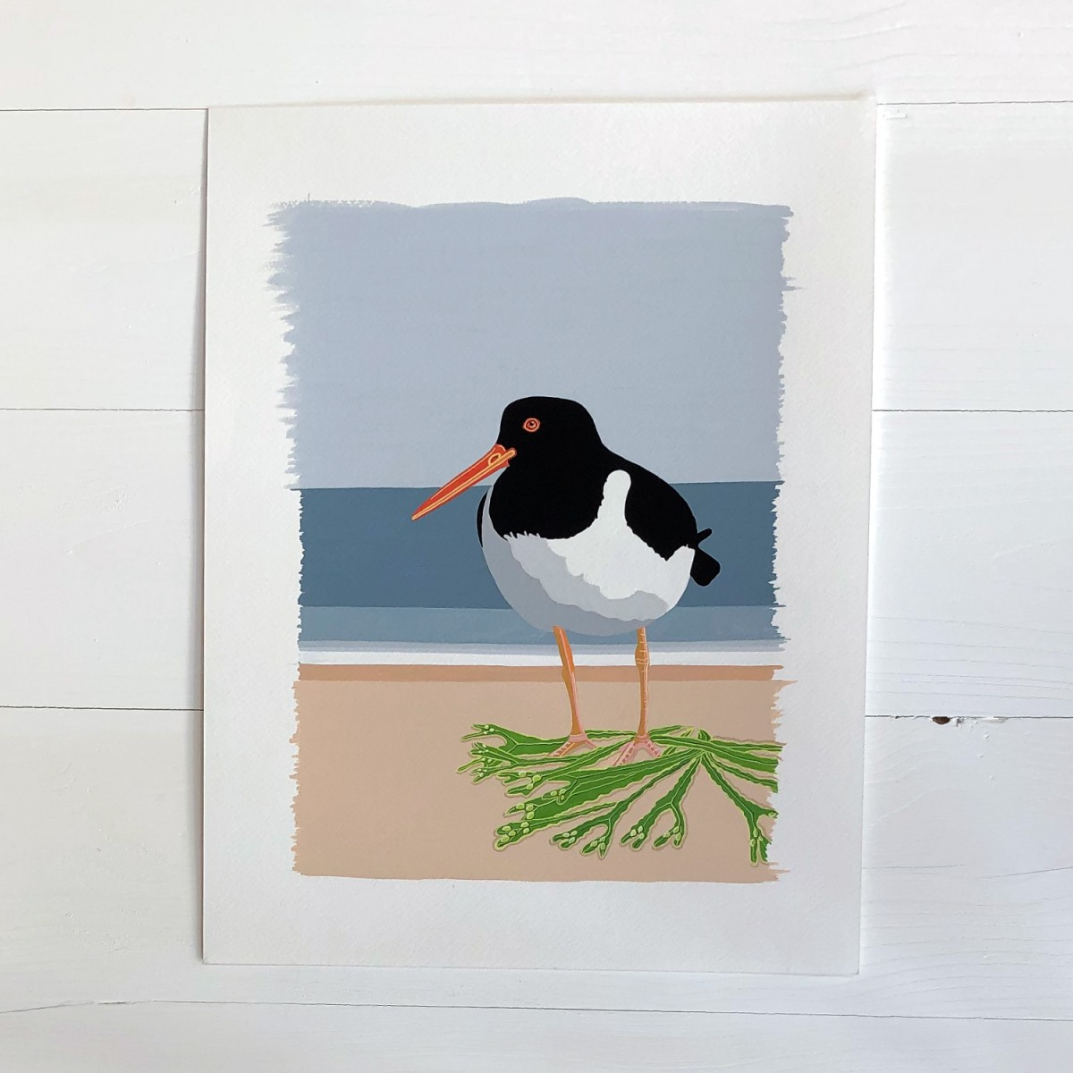 Oystercatcher Original Sea Bird Gouache Painting by Bird The Artist